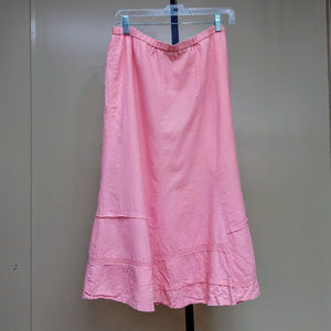 Requirements Linen Blend LIned Midi Pink Skirt EUC